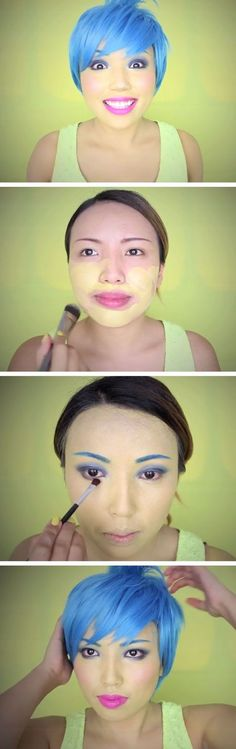 Inside Out Joy MakeupTutorial Click Pic for 18 Easy DIY Halloween Costumes for Women Last Minute Halloween Costumes for Girls Diy Halloween Costumes For Women, Last Minute Halloween Costumes, Halloween 2015, Halloween Cosplay, Holidays Halloween, Halloween Makeup, Halloween Party, Halloween Karneval, Disney Costumes