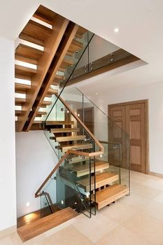 Double central spine staircase : modern Corridor, hallway & stairs by Smet UK - Staircases New Staircase, Staircase Remodel, Staircase Design, Spiral Staircases, Staircase Ideas, Open Basement Stairs, Basement Ideas, Basement Designs, Basement Remodeling