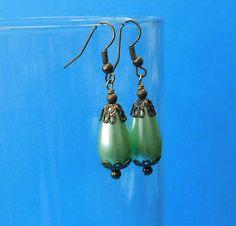 Unique Earrings for Girlfriend Gift, Unique Simple Earrings, Mint Green Vintage Style Teardrop Earrings, Green Drop Earrings