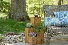 Double-Duty Design: How to Build a Side Table Atop a Small Garden | eHow Tiered Planter, Wood Planter Box, Planter Table, Wood Planters, Cement Pots, Diy Patio, Backyard Patio, Backyard Ideas, Porch Ideas