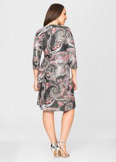 Foil Paisley Print Stone Detail Dress - Ashley Stewart