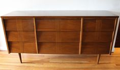 Mid century modern low dresser credenza with louvered drawers and a parquet design