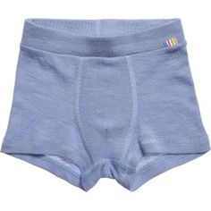 Boys blue thermal boxer shorts by Joha, made in a stretchy Merino wool and silk blend, with an elasticated waist The fabric hasreceived the Woolmark Blend certificate, ensuring purity and quality.