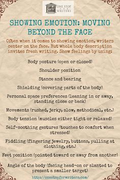 Stuck on facial cues when it comes to emotion? Write FRESH DESCRIPTION & look down! http://onestopforwriters.com/