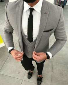 Black and brown designer suits for the modern man. buy designer mens suits online, mens designer suit outlet, click visit link above for more options Best Suits For Men, Cool Suits, Grey Suit For Men, Suit For Man, Suit Styles For Men, Mens Fashion Suits, Mens Suits, Fashion Vest, Suit Men
