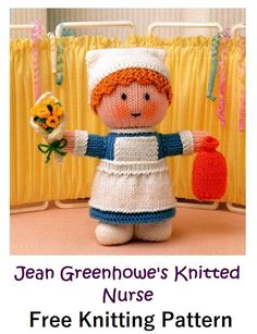 Jean Greenhowe's Knitted Nurse Free Pattern – Knitting Projects Source by vivlincoln VEJA MAIS vivlincoln., Jean Greenhowe's Knitted Nurse Free Pattern – Knitting Projects, # ✂❤ Knitted Nurse Doll Pattern, Knitting Dolls Free Patterns, Knitted Dolls Free, Teddy Bear Knitting Pattern, Knitted Teddy Bear, Crochet Toys, Free Knitting, Baby Knitting, Knitting Toys Easy
