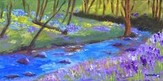 "Daily Paintworks - ""ORIGINAL PAINTING OF PHLOX ALONG FISHBURN CREEK"" - Original Fine Art for Sale - © Sue Furrow"