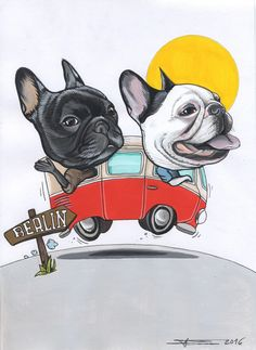 VW van , French Bulldog road trip , sketch by Jeroen Teunen