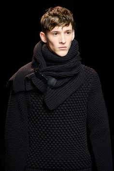 Salvatore Ferragamo Fall 2013 men's black knitwear...the toggle on the scarf...so doing this!