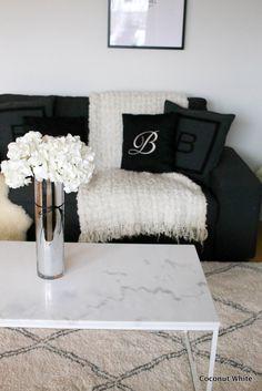 Marmorinen sohvapöytä olohuoneessa | Coconut White