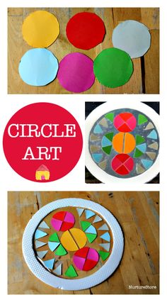 Circle art to explore shapes and scissor skills :: learning about shapes :: art and math activity :: art activity using fractions Spring Crafts For Kids, Art For Kids, Kids Crafts, Arts And Crafts, Paper Crafts, Science Crafts, Arte Elemental, Ecole Art, Circle Art
