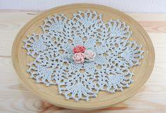 Crochet doilie grey roses vintage lace