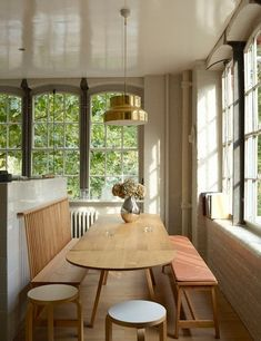 small banquette seating area- for a dining extension bump out on the kitchen