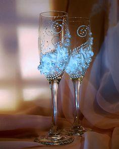 Wedding Glasses- Wedding Champagne Flutes- Bride And Groom Champagne Flutes, Beach wedding toasting glasses, Personalized Toasting Flutes on Etsy, $52.00