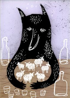 all mine wolf (Art: Sanna Borell) Children's Book Illustration, Graphic Design Illustration, Graphic Art, Art Graphique, Art Plastique, Art Inspo, Painting & Drawing, Illustrators, Art Prints