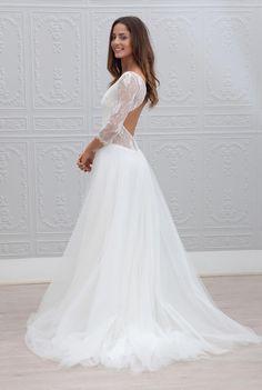 Robe-De-Noiva-mode-trois-quarts-manches-voir-bien-robe-De-mariée-2015-Sexy-col-en