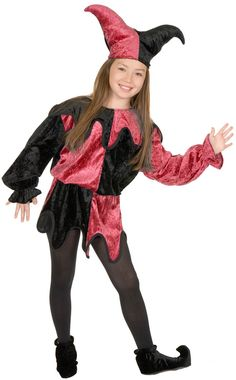 Black and Wine Jester Kids Costume - Halloween Costumes