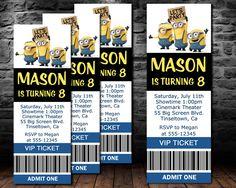 2015 New Minion Movie Invitation, Movie Ticket MINIONS Party invitation, New Minions 2015 movie invitation, Printable, birthday by TheIndigoStudio on Etsy https://www.etsy.com/listing/230761910/2015-new-minion-movie-invitation-movie