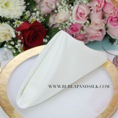 Ivory Napkins for weddings, hotels, and events. Premium-grade 20 x 20 inches ivory napkins. Call for wholesale ivory napkins. Wedding Table Linens, Wedding Napkins, Table Setting Inspiration, Wedding Inspiration, Wedding Trends, Wedding Designs, Burlap Chair Sashes, Burlap Wedding Decorations, Lace Table Runners