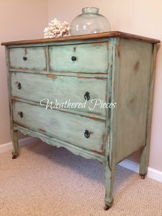 DIY: How to Paint a Damaged Veneered Dresser - Weathered Pieces: Alaskan Tundra Green