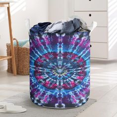⭐⭐⭐⭐⭐ 🔥 Blue and Purple Tie Dye Laundry Basket for just $29.99 Free Shipping! 🚚 ➤