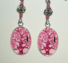 Pink TREE OF LIFE Earrings Klimt Style Altered ART
