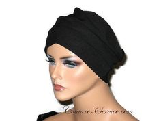 """Black Draped Chemo Turban, Handmade Small by Couture Service SIZE SmallThis is a soft medium weight poly Lycra knit. Draped Turban Cap Drape it the way you want.Specifically designed for those who have experienced hair loss.Mannequin is wearing a size Medium. Her head is 22"""".Small fits a 21 to 21 1/2"""" head.Finished seams, self lined band."""