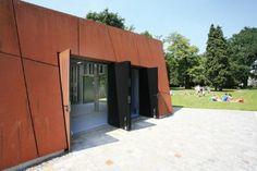 Architectura - Ontwerpbureau Omgeving bekleedt Boekenbergpark Deurne met cortenstaal