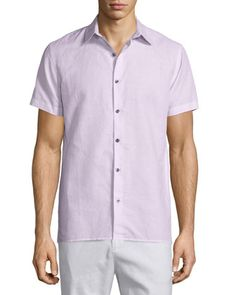 Linen-Blend+Short-Sleeve+Sport+Shirt,+Pink+by+Vince+at+Neiman+Marcus.