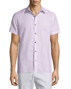 Linen-Blend+Short-Sleeve+Sport+Shirt,+Pink+by+Vince+at+Neiman+Marcus.