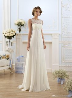 Elegant Sheath Wedding Dresses A Line Sheer Neck Capped Sleeve Empire Waist Floor Length Chiffon Cheap Summer Beach Bridal Gowns BO8190