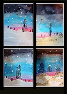 These will be a fun winter project Classe D'art, January Art, Winter Art Projects, Winter Project, Winter Painting, Canadian Art, Art Lessons Elementary, Preschool Art, Art Classroom