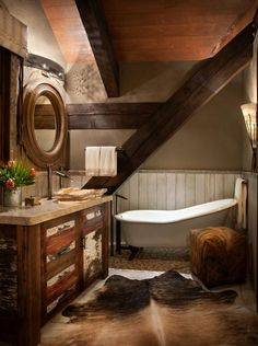Photographing the Western Home – Cowboys and Indians Magazine Rustic Bathroom Designs, Rustic Bathroom Decor, Rustic Bathrooms, Rustic Decor, Rustic Chair, Dream Bathrooms, Rustic Furniture, Craftsman House Plans, Modern House Plans