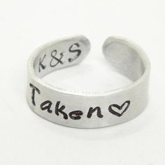 "Promise ring ""taken"" heart ring with initials on the inside - Personalized promise ring commitment ring relationship ring Valentine gift"