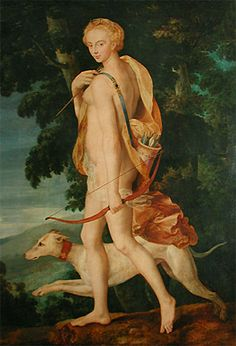1550 Meister der Schule von Fontainebleau Diana the Huntress. This early Diana carries a bow & quiver & travels with her dog. Lady Diana, Louvre Paris, French Art, 16th Century, Middle Ages, Art History, Oil On Canvas, Image, Greek Mythology