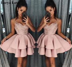 Elegant Pink Layers Homecoming Dresses, Spaghetti Straps A-line Short Prom Dresses from Yaydressy - Elbiseler - brautjungfern kleider Turquoise Homecoming Dresses, Sequin Prom Dresses, Hoco Dresses, Dress Prom, Sleeve Dresses, Prom Gowns, Pink Dresses, Dance Dresses, Dress Lace