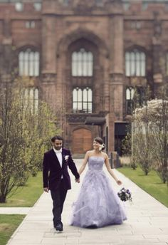 violet dress + purple jacket? amaze. this bride and groom are so daring! love the different wedding outfits
