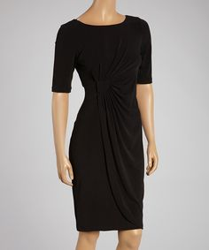 Look what I found on #zulily! Jessica Howard Black Ruched Shift Dress by Jessica Howard #zulilyfinds