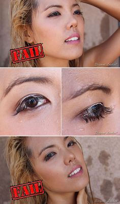 False eyelashes are NOT waterproof! These were Premium 100% Natural Human Hair Lashes applied with WATERPROOF eyelash glue. We used clear glue and it turned white when wet. Gross. -_-   fake false eyelashes, are false eyelashes waterproof, summer makeup, beach pool makeup, waterproof makeup, waterproof mascara, waterproof eyelashes, can you wear fake false eyelashes to the beach pool swimming, elegant lashes, bonnie sunny lee, sunny bonnie lee, shyne bonnie sunny