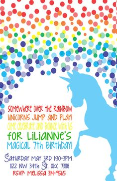Rainbow Unicorn Birthday Invitation by MountainBoomerPaper on Etsy, $14.50