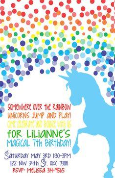 Rainbow Unicorn Birthday Invitation by MountainBoomerPaper on Etsy, $14.50