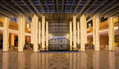 Lobby at JW Marriott Hotel Shenzhen, interior designed by HBA/Hirsch Bedner Associates