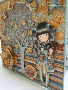 Feel&Felt: Gorjuss Autumn Card Pretty Cards, Cute Cards, Diy Cards, Album Gorjuss, Paint Cards, Vintage Paper Dolls, Thanksgiving Cards, Baby Scrapbook, Fall Cards