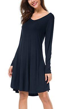 Urban GoCo Donna Casual Vestito Manica Lunga Loose Maglietta Abito Orlo  Flowy (Small Blu marino 078ab94e3cf
