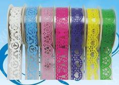 Tres bonne qualite washi masking tape en dentelle transparente verte  : Masking tape par craftqueen