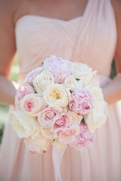 Roses and Blush Peony Bridesmaid Bouquet | Marisan Photography | TheKnot.com
