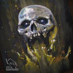 Череп. Эскиз. Скетч. Арт Skull. Fire. Dead. Ink. Tatto. Sketch. LevK