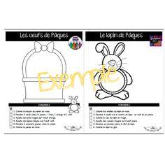 Coloriages dirigés de Pâques Chart, Green Rabbit, Locs, Drawing Drawing