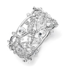 Love! 'The Sophisticate' Abstract Bridal Cuff Bracelet with Crystal