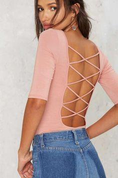 Show Down Lace Up Bodysuit - Tops
